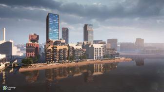 Bilden är en visionsbild som visar ett exempel på hur det skulle kunna bli vid Masthuggskajen.