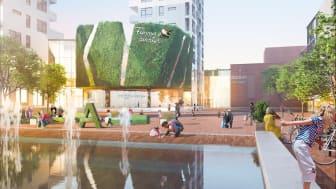 Våren 2020 ska sagoland, bostäder, fler affärer och biograf stå klart på Mobilia. Foto: Atrium Ljungberg AB