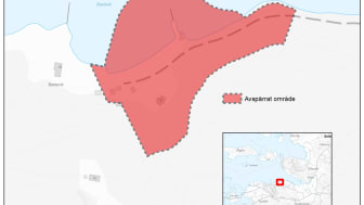 Karta över aktuellt skredområde. Copyright: Lantmäteriet.