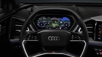 Audi Q4 e-tron interiør med touchbetjening på rattet