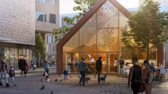 Det nya Fiskhuset på Selma Lagerlöfs Torg. Bild: Semrén & Månsson Arkitekter