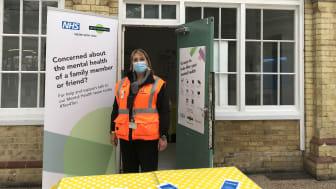 Station manager, Kate Richards, setting up the new mental health hub at Eastbourne station