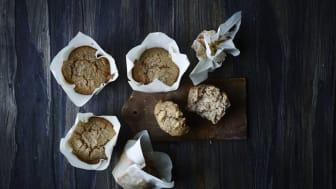 Muffins med fuldkorn og æble