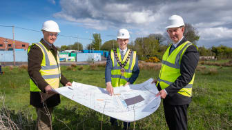 L-R: Philip Thompson, Mid and East Antrim Borough Council's Director of Operations, Mayor, Councillor Peter Johnston, and DAERA Minister Edwin Poots MLA, look over the plans for the new £1M Sullatober Household Recycling Centre