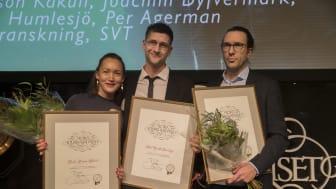Vinnare  i kategorin Årets avslöjande: Linda Larsson Kakuli, Axel Gordh Humlesjö, Per Agerman. Ur bild: Joachim Dyfvermark