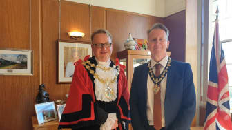 The Mayor of Bury, Councillor Tim Pickstone, with his partner Wayne Burrows who is the Mayor's Consort.
