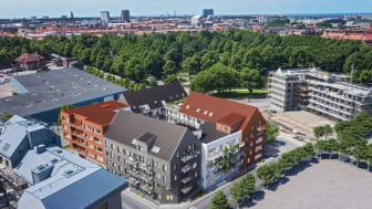 Många av lägenheterna i det nya HSB kvarteret får balkong eller uteplats.