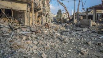 Förödelsen efter en attack i Douma i östra Ghouta.