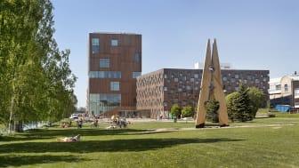 Bildmuseet på Konstnärligt campus intill Umeälven. Foto: Johan Gunséus