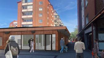 Ljus entré med stora fönster ger ett välkomnande intryck. Skissbild som visar planerna på nya arbetsplatser och rum för möten på Planteringens Wienertorg.