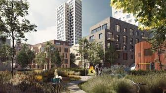 Byggnadsnämnden väntas under onsdagens möte ta beslut om att skicka detaljplanerna för den norra och mellersta delen av Kopparlunden på samråd. Totalt innebär förslagen cirka 1 300 nya bostäder. Illustration: FOJAB