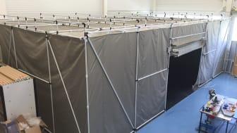 Faraday Tent, ett portabelt rf-skyddat tält för olika typer av verksamheter.