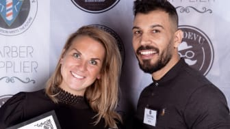 Semifinal 3 i Årets barberare 2019 - Caroline Gustafsson från Barber Art & Crafts i Trelleborg (1:a plats) och Ali Alahama från Troy Salon i Nybro (2:a plats).