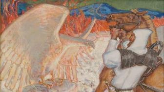 Akseli Gallen-Kallela, Lemminkäinen vid eldfloden, 1920, olja på duk, 73 x 70 cm.