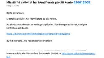 Exempel på e-post meddelande med nätfiske
