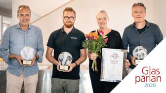 Fr v: Dag Klockby, VD Gärsnäs, Mattias Laakso Nilsson, VD Glasmästarna i Skåne, Ia Hjärre och Andy Nettleton, Dive Architects. Foto: Magnus Östh