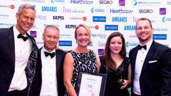 Cofounder of Isansys, Rebecca Weir, and PR and Marketing Executive of Isansys Georgina Horton, collecting the Best Use of Technology award
