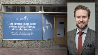 Här, på Drottninggatan i Helsingborg,  öppnar snart Bjurfors sitt 20:e kontor i Skåne. (Infälld i bild: Mattias Larsson, vd Bjurfors Skåne.)