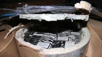 Cigarettes smuggled inside asbestos and conrete tubes (SE 19.17)