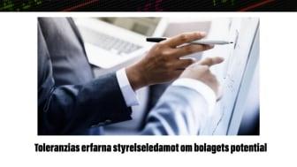 Toleranzias erfarna styrelseledamot i artikel i Biostock