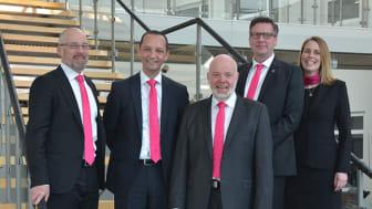 Den Skandinaviska ledningen i Rittal. Från vänster Håkan Persson, Hassan Soussi, Ole Sverre Spigseth, Kent Frennesson och Ann-Marie Nyström.