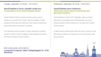 Sanofi Diabetes news conference - Addressing unmet needs and delivering next generation solutions