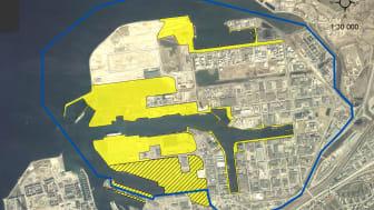 Karta över Norra Hamnen med avgränsningen för Masterplan (blå linje)