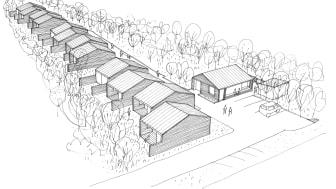 De skæve boliger bliver rækkehuse i ét plan med en lille baghave. Dertil kommer et fælleshus. Visualisering: Leth & Gori