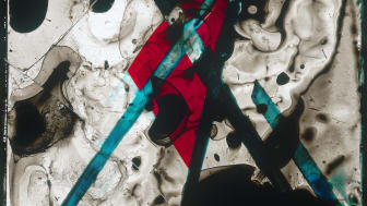 Edgar Cleijne and Ellen Gallagher, Better Dimension, 2010. Detail of ink and tape on glass slide.