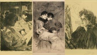 Tre av Anders Zorns etsningar på utställningen: Lektyr, Kusinerna och Cigarettrökerska II.