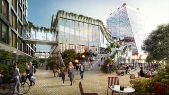 3D bild som visar fastigheterna Drivbänken och Fyrtornet i området Embassy of Sharing. Bild från Midroc