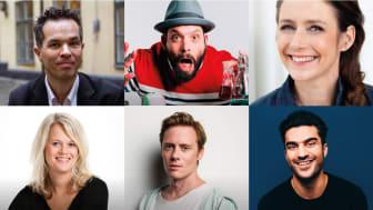 Från vänster översta raden: Mårten Melin, Beppe Singer, Johanna Westman, Malin Stehn, Johan Wendt, Farzad Farzaneh