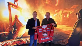 Peter Areskog, VD och ägare av Areco Steel, och Patrik Sylvegård, sportchef för Malmö Redhawks.