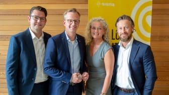 David Österlindh, Mikael Damberg, Beatrice Silow och Lars Kry var alla nöjda med närings- och innovationsministerns besök på Sigma IT Consulting i Göteborg.