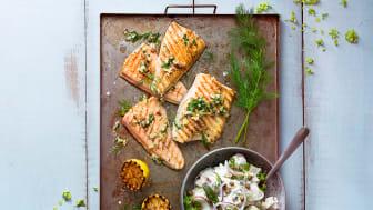 Grillad Röding med örtpesto, Västerbottensost® och krämig potatissallad. Foto Fabian Björnstjerna