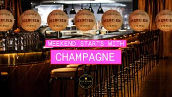 Tap Room Kungsholmen fortsätter fira löningsfredag med champagne hela hösten!