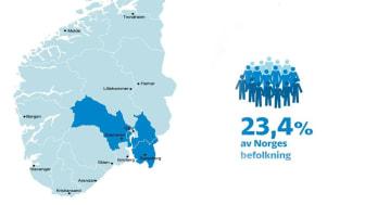 Viken består av de blåmarkerade områdena i kartbilden och samlar nära en fjärdedel av norges befolkning.