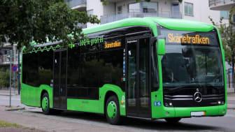Elbussarna i Trelleborg har fått Blue Angel kvalitetsmiljömärkning. Foto: Skånetrafiken