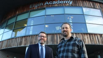 Elgin Academy Headteacher David Barnett (left) with Gregor Dodson, ex-pupil now YouTube Music Project Leader