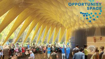 """Illustration av """"Folkets House"""", som blir mötesplats för Opportunity Space Festival i Enskifteshagen den 22 augusti-2 september"""