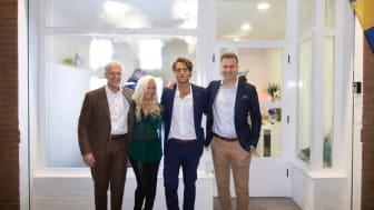 Fr v: Mats Dahlström, delägare och grundare HusmanHagberg, Cecilia Martinsson och Leo López, franchisetagare Valencia och Altea/Denia samt Henrik Hagberg, VD HusmanHagberg Utland.