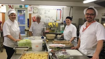 ellenor catering team preparing Christmas lunch for patients.
