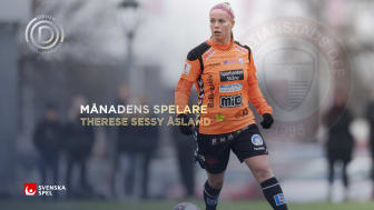 KDFF-stjärnan Therese Sessy Åsland Månadens spelare – skänker 10 000 kronor till spontanidrottsprojekt