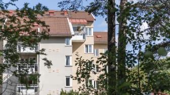 Staden utvecklas och förtätas. SKBs kvarter Tisaren i Årsta växer och får två nya bostadshus. Foto: baraBild.se