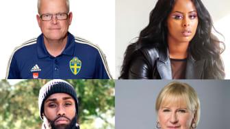 """Årets pristagare är Janne Andersson, Sherihan """"Cherrie"""" Hersi, Hamza Mostafa och Margot Wallström"""