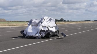 A managed impact to demonstrate the potential dangers of drivers over-relying on 'Highway Assist' systems