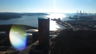 Vår nya ackumulatortank ligger i Energihamnen på Hisingen.