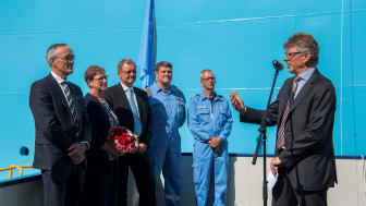 Chief Technical Officer in Maersk Supply Service Peter Kragh Jacobsen giving his speech at the naming ceremony.