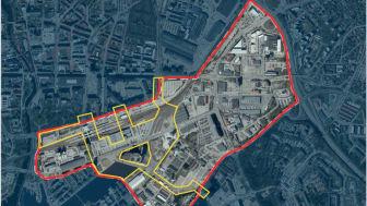 Deltagarna i tävlingen har fått fem stråk (gult) inom Mälarportsområdet att arbeta med. Uppdraget handlar om att göra stråken och området trevligt att besöka under den långa byggtiden av stadsdelen.
