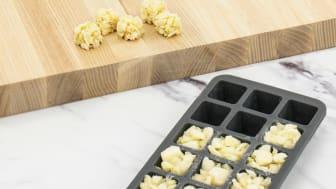 Smart frysform för portionsstora vitlökskuber.